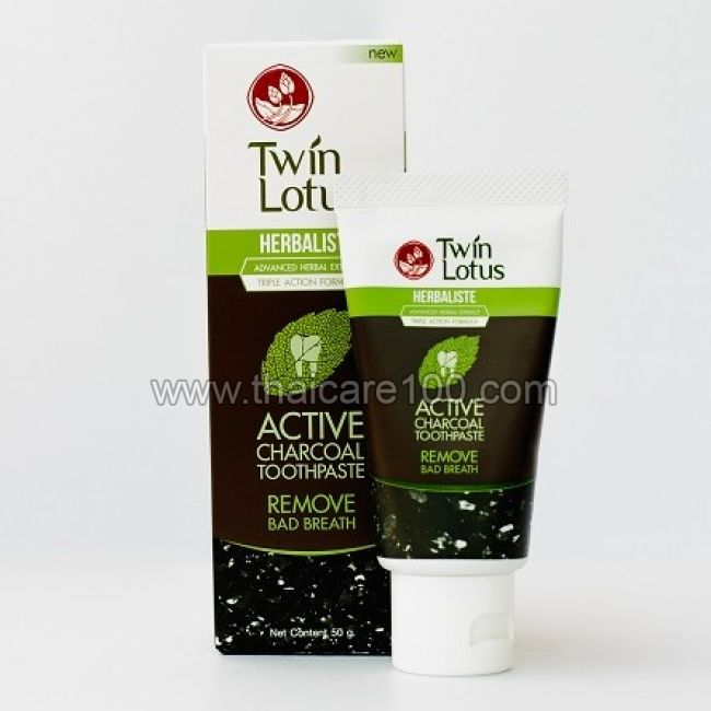 Известная зубная паста с углем Twin Lotus Active Charcoal Toothpaste